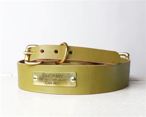 personalized green leather collar belt buckle style