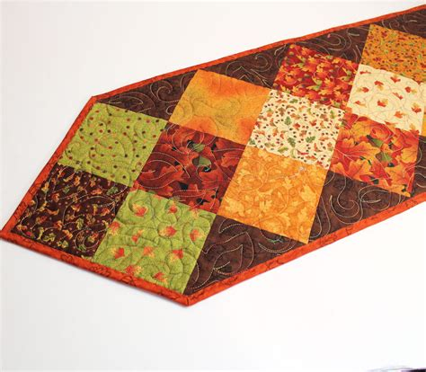 Table Runner Quilt by Autumn Fall Table Runner Quilt In Gold Brown And Green
