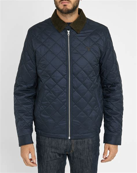 Navy Quilted Jacket With by Gant Navy Quilted Jacket With Corduroy Collar In Blue For