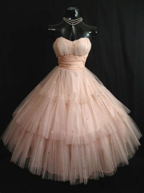 10 Stunning Dresses 50 by Vintage 1950 S Shell Pink Prom Dresses Tulle Sequins