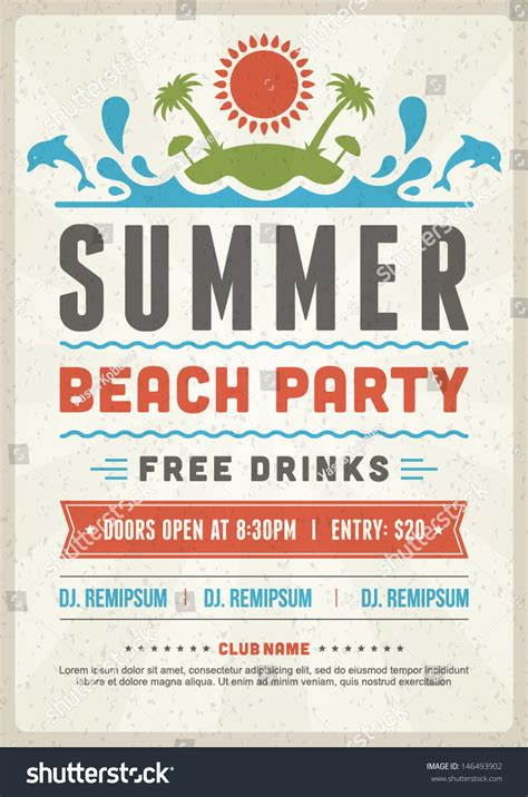 Retro Summer Party Design Poster Flyer Stock Vector 146493902 Shutterstock Event Poster Template