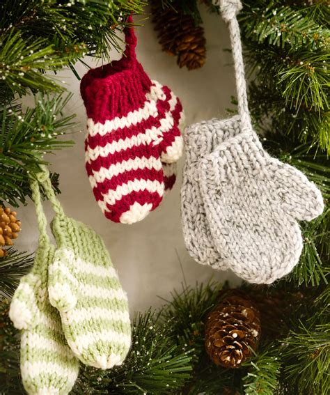 knitting pattern for christmas stocking ornament mitten ornaments crochet pattern and mitten ornaments