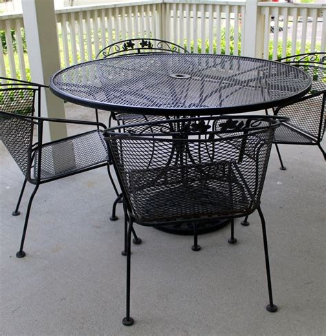Wrought Iron Patio Table Four Chairs And Umbrella Stand Rod Iron Patio Table