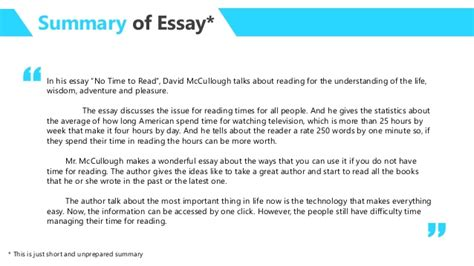Essays To Read by Essay Analysis No Time To Read By David Mccullough