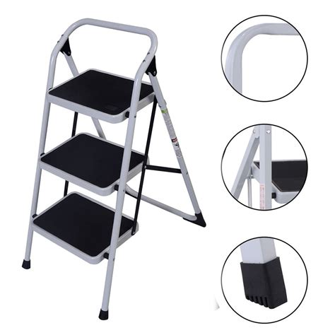 lightweight portable folding stool 3 step portable folding stool ladder non slip safety tread