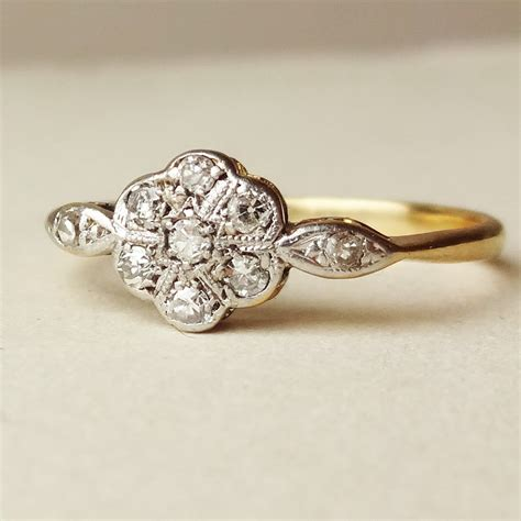 deco flower ring antique engagement ring