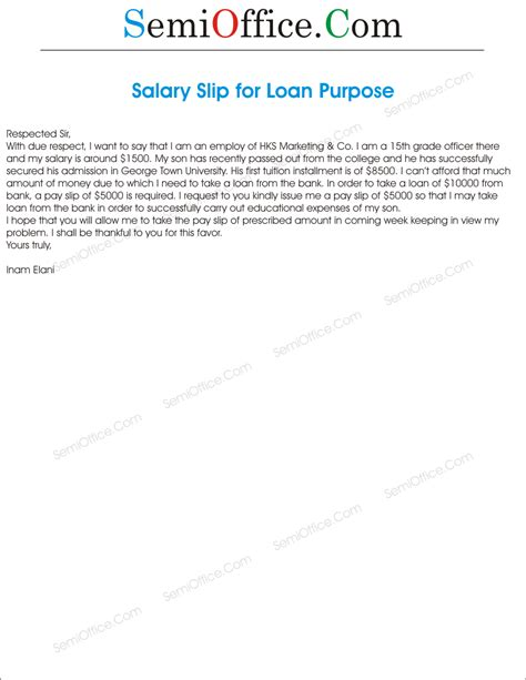 Letter For Loan Purpose Application For Salary Slip For Loan Purpose