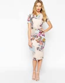 print dress asos asos floral print scuba bodycon dress at asos