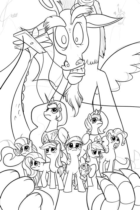 my little pony coloring pages discord wip inks discord by dreatos on deviantart