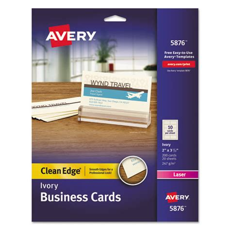 Avery Smooth Edgebusiness Card Templates by Superwarehouse Avery Clean Edge Business Cards 5876