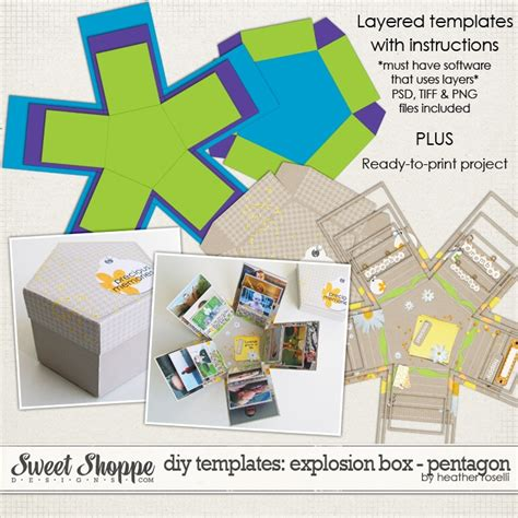 templates for exploding boxes diy printable templates explosion box pentagon by