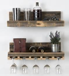 reclaimed wood floating shelf wine rack set features