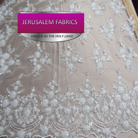 beaded lace fabric by the yard royalty bridal luxury wedding beaded white mesh lace
