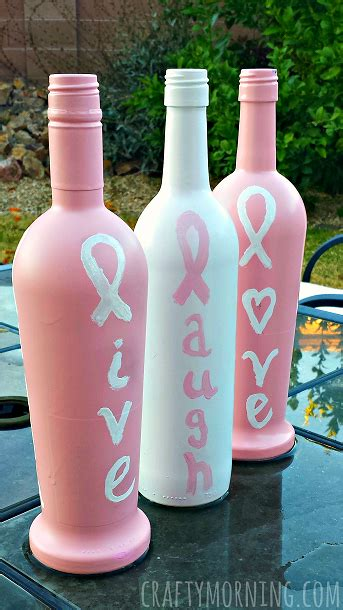 breast cancer craft projects breast cancer awareness wine bottle crafts crafty morning