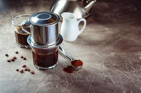 coffee dripping  vietnamese style stock image image  boiled maker