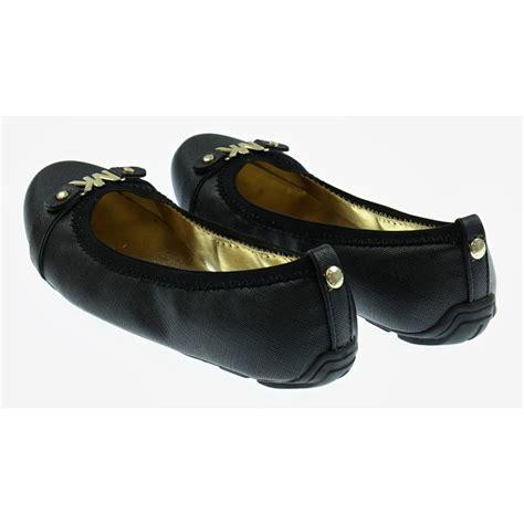 michael kors black ballerina shoes with gold emblems