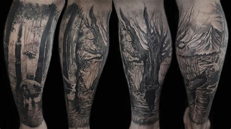 forest scene tattoo forest and memorial by caleb tattoonow
