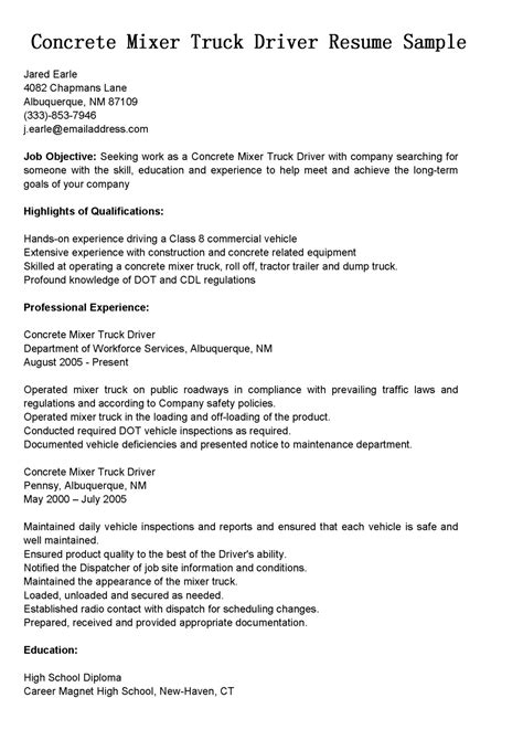 driver resumes concrete mixer truck driver resume sle