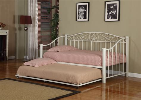 twin size day bed cream white finish metal twin size day bed daybed frame with trundle new ebay