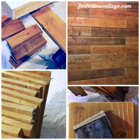 Red Powder Room - fence board planked wall how to fox hollow cottage