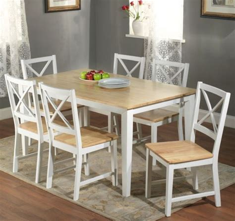 Wood Dining Table With White Chairs 7 Pc White Dining Set Kitchen Room Table Chairs Bench Wood Furniture Tables Sets Ebay