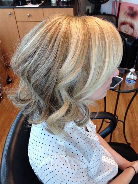blond bob with low lights blonde highlights lowlights curled bob hair by melissa