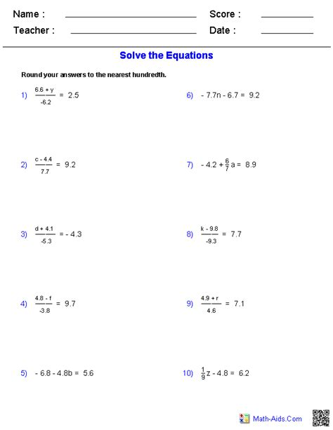 Math Worksheets For 8th Grade Algebra 1 by Algebra 1 Worksheets Equations Worksheets