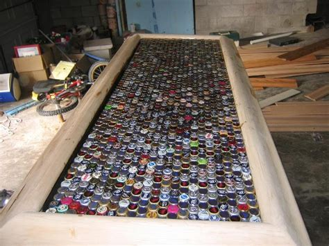 cool bar tops bottle cap bar top the bar plans pinterest