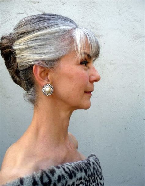 bangs and gray hair grey hair updo my gray hair pinterest