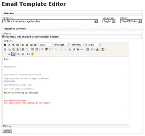 email template editor paansystems