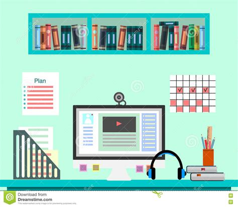 Online Design Teacher | desk with computer documents and equipment workplace for