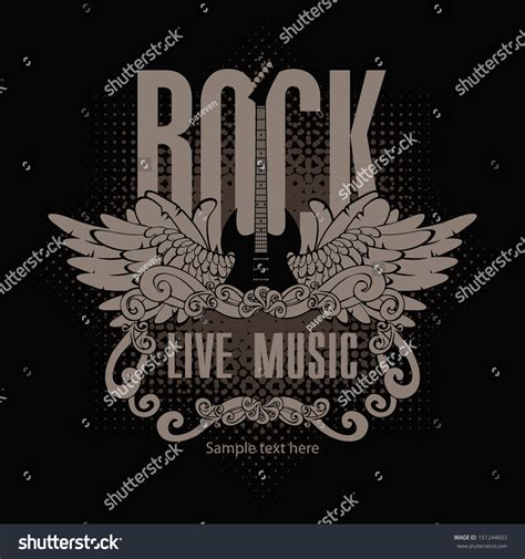 Square Rok square banner with a guitar and wings and the words of