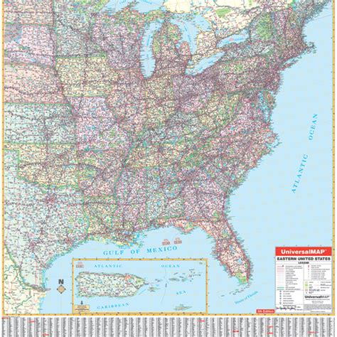 eastern us map united state wall roller maps us eastern wall map