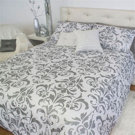 Silver Duvet Cover Damask Silver Black White Blue King Quilt Doona