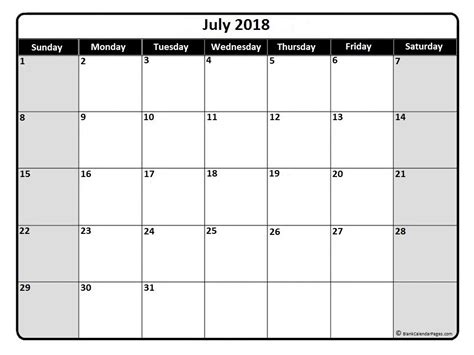 printable monthly calendar no weekends july 2018 calendar july 2018 calendar printable
