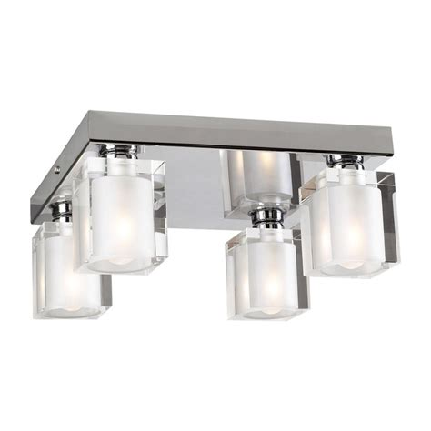 Chrome Flush Mount Ceiling Light by Shop Plc Lighting Glacier 10 In W Polished Chrome Ceiling