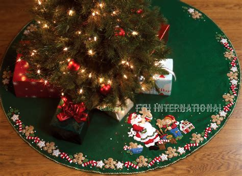 pattern for felt christmas tree skirt christmas cookies 44 quot bucilla felt tree skirt kit 86149