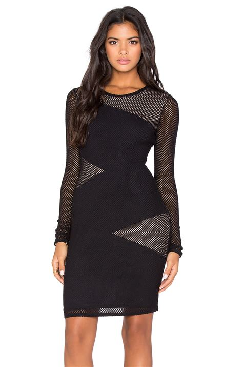 Tania Dress Black bcbgmaxazria lace fitted dress in black lyst