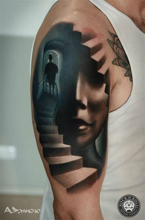 staircase tattoo collection of 25 3d stairs on shoulder