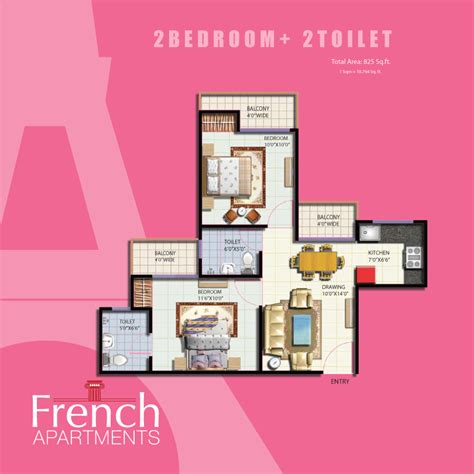 2 Bedroom Apartment french apartments floor plans