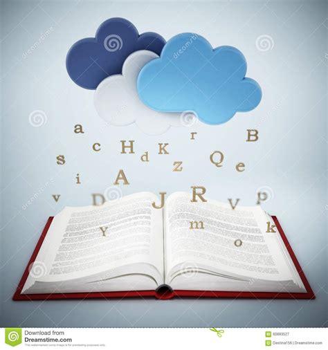 libro lettere appassionate libro aperto con le lettere che cadono dalle nuvole illustrazione di stock illustrazione di