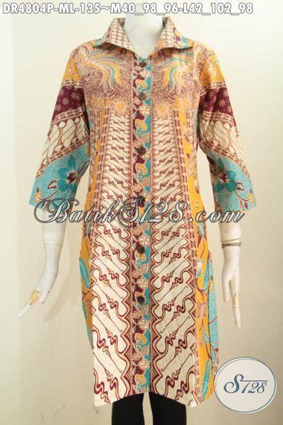 Iqlima Dress M 96 L 98 jual pakaian batik halus motif klasik sinaran baju dress