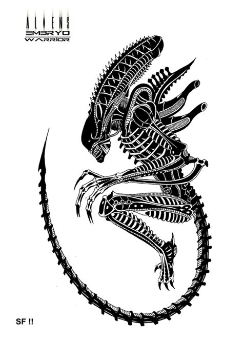 tribal xenomorph tattoo embryo warrior by lordinator xenomorphs