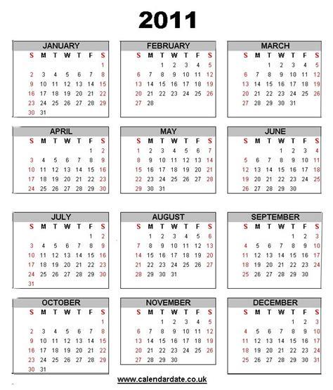 Calendar Of 2011 2011 Calendar New
