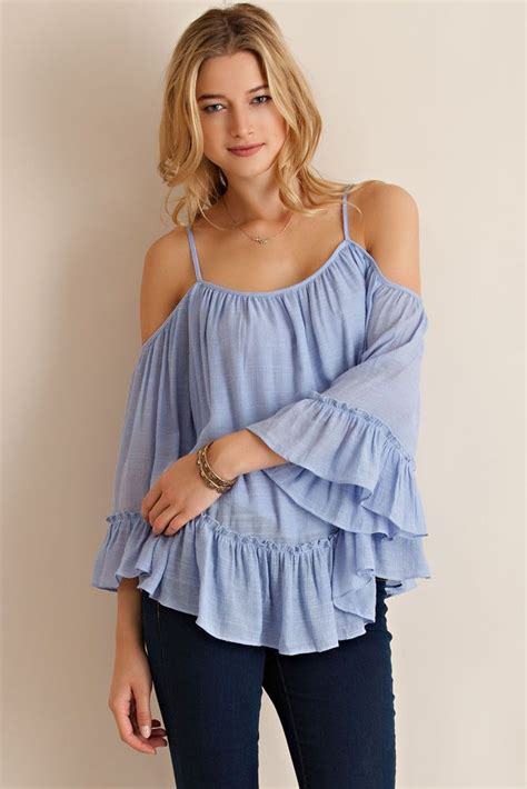 Irena Boho Ruffle Dress blue boho cold shoulder ruffle top by entro usa ネタ集め