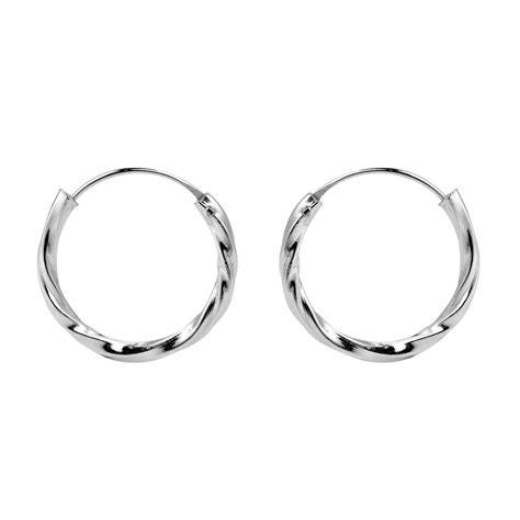 how to make silver jewelry shine shiny twist texture 17mm hoop 925 silver earrings aeravida