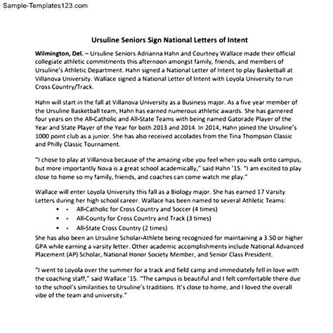 Letter Of Intent Format Pdf National Letter Of Intent Pdf Sle Templates
