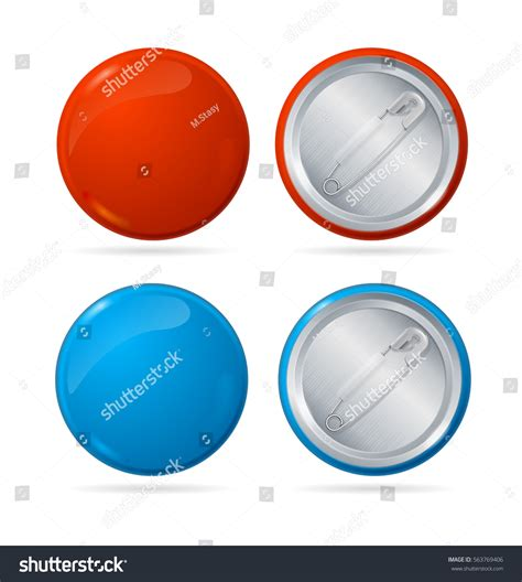 backing cards for buttons template template color blank circle button badge stock vector