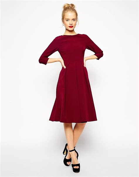 asos asos tailored midi dress with pleats and skirt