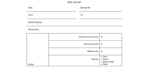 rental receipt template doc rental receipt form template excel tmp